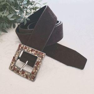 Vintage Belt Suede Brown Stone Embellished Buckle